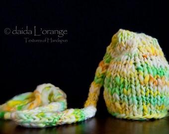 OOAK Newborn Long-Tail Elf Hat - Lemon Lime Sunshine - Spring Collection