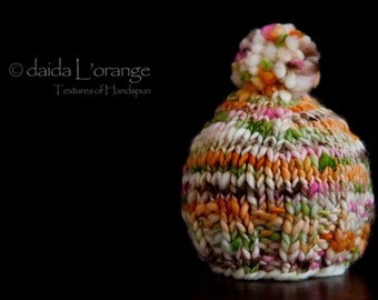 NEW STYLE - OOAK Newborn Ribbed Edge Beanie Hat with Pom Pom - Summer Flowers - Summer Collection