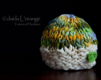 OOAK Newborn Dual-Tone Reversible Textured Beanie Hat with Removable Felt Flower - Ivory Poppy Lime Slate - Autumn Collection