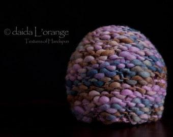 LIMITED EDITION - OOAK Newborn Reversible Beanie Hat - Steel Amethyst Desert - Autumn Collection