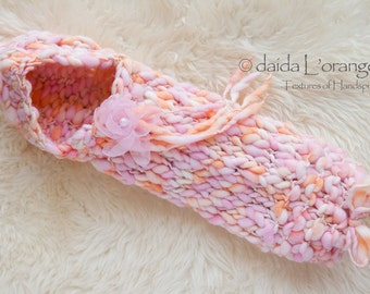 OOAK Newborn Little Toesies Snuggler with Removable Organza Flower Blossom - Coral Pink Blossom - Photography Prop - Summer Collection