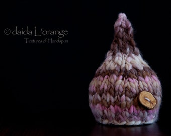 OOAK Newborn Pixie Gnome Hat with Removable Tree Branch Button - Pink Chocolate - Autumn Collection