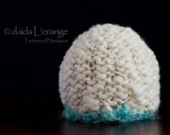 Limited Edition - Luxe Newborn Textured  Beanie Hat - Aqua Ivory - Winter Collection