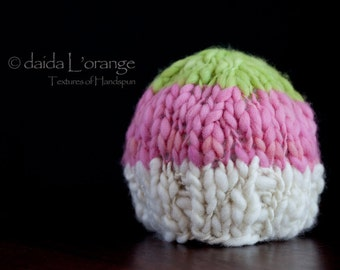 New Style - OOAK Newborn Dual-Tone  Beanie Hat - Vanilla Berry Lime - Spring Collection