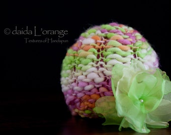 Limited Edition - OOAK Newborn Reversible Beanie Hat with Removable Organza Flower Blossom - Blooming Spring - Spring Collection