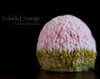 OOAK Luxe Newborn Dual-Tone Beanie Hat - Pink Moss - Spring Collection
