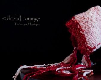OOAK Newborn Daida Luxe Reversible Pixie Bonnet Hat - Crimson Pink - Spring Collection