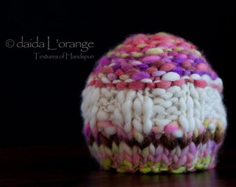 OOAK Indecision Newborn Beanie Hat - Snow Kissed Poppies and Violets - Spring Collection