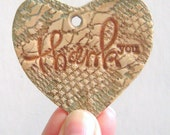 Thank You Gift Tags 4 Heart Shaped Lace Stamped Wedding Gift Favor Tags Custom Made Polymer Clay Hang Tag Cottage Tan Brown Turquoise