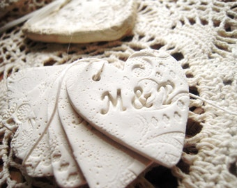 Personalized Wedding Favor Tags Wine Charms Unique Hearts Gift Tag Table Decor Favors Clay Tag Vintage Shabby Chic Rustic Wedding Theme