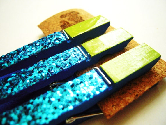 Decorative Clothespins Kids Art Display Wooden Altered Painted Clip Bright Blue Green Metallic Blue Glitter Decorated Clothes Peg
