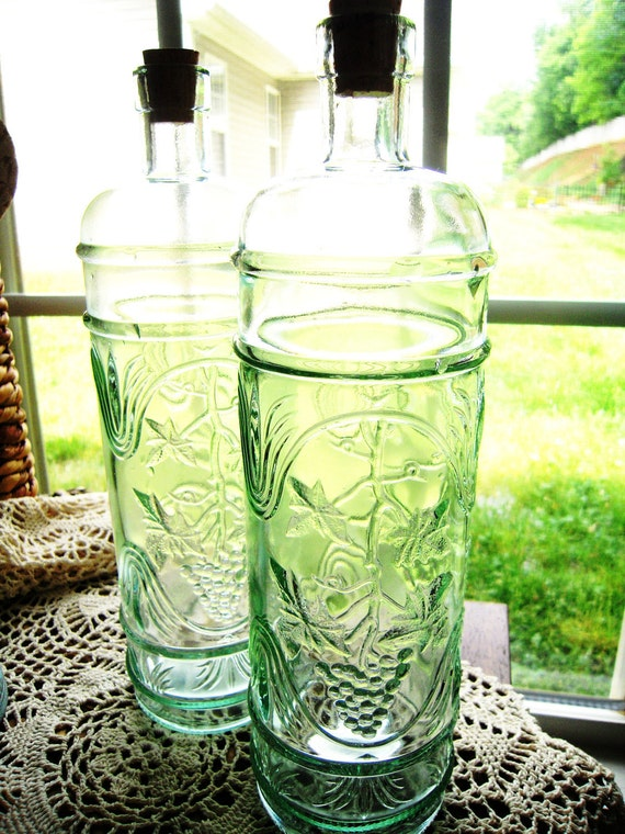 2 Tall Decorative Recycled Green Glass Bottles By Unconventionalj