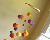 Needle Felted Gumball Mobile - Purples and Oranges