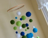 Needle Felted Gumball Mobile - Blues, Greens and White