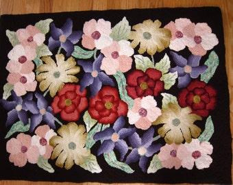 Hooked rug - flowers