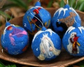 Needle felted Christmas ornament-Ollie's Ski Trip-Elsa Beskow and Waldorf inspired