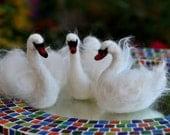 Needle Felted  Animals  White Swan