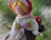 Needle Felted Waldorf Children of the forest- Forest Mother with a babysoft sculpture- Elsa Beskow inspired needle felt by Daria Lvovsky