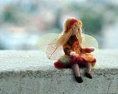 Needle Felted Waldorf  Wool -Autumn Pixie Fairy- standing doll-soft sculpture -needle felt by Daria Lvovsky REserved for  Beth