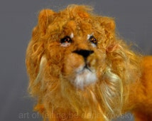Needle felted Lion-Waldorf inspired-King of Beasts-Soft Sculpture-needle felt by Daria Lvovsky Made for  custom orders