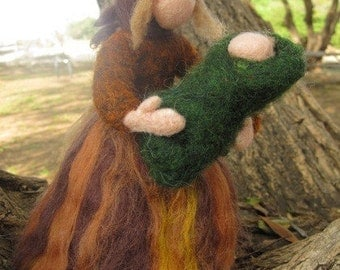 Needle felted Waldorf  Wool Fairy-Mother Earth-standing doll-soft sculpture--needle felt by Daria LvovskyMade to custom order