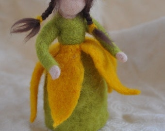 Needle felted Waldorf Chrysanthemum-girl- soft sculpture -needle felt by Daria Lvovsky