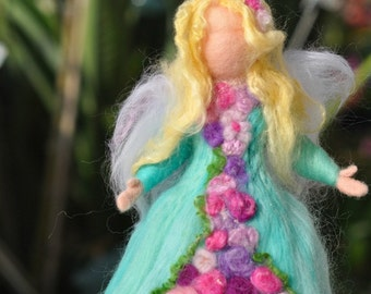 Needle felted Waldorf  Wool  Garden Fairy - Wool standing doll -Needle felt by Daria Lvovsky,