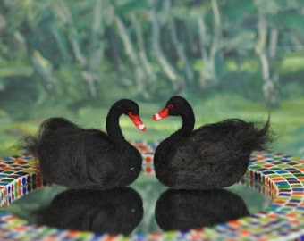 Needle Felted  Wool Animals  Waldorf inspired Swan- Soft Sculpture -needle felt by Daria Lvovsky