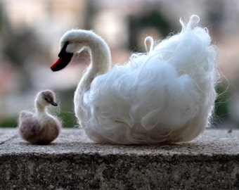 Needle Felted    Animals . Swan and The Ugly Duckling. Needle felt by Daria Lvovsky - Made to custom order