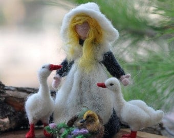 Needle felted Waldorf Goose Girl. Needle felt by Daria Lvovsky