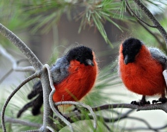 Needle Felted Wool Animals- Chrismass decoration-Eurasian Bullfinch- Soft Sculpture--needle felt by Daria Lvovsky