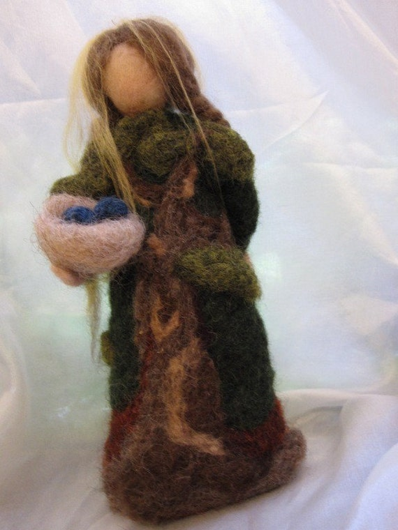Needle felted Forest Maiden-Waldorf inspired standing doll-soft sculpture
