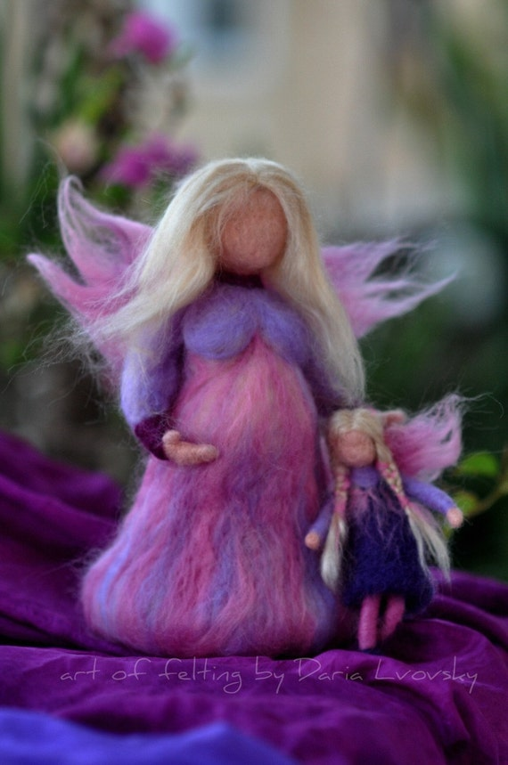Needle felted Waldorf  Pregnant Fairy. Mother and child. Standing doll-soft sculpture. Made to order