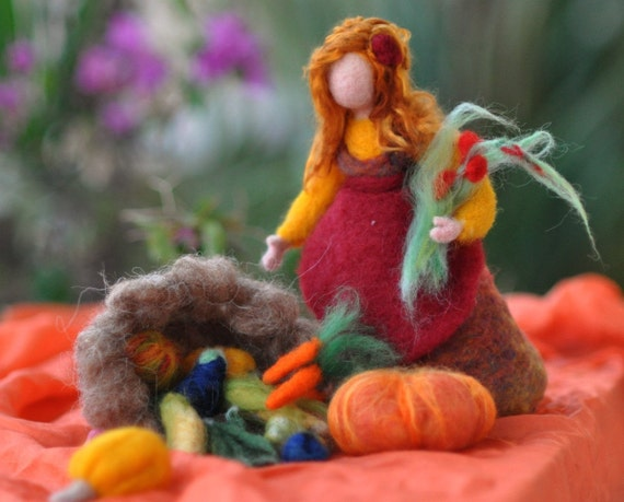 Needle Felted Doll Waldorf Harvest maidenWool Doll-Autumn- standing doll-soft sculpture-Made to custom orders-needle felt by Daria Lvovsky