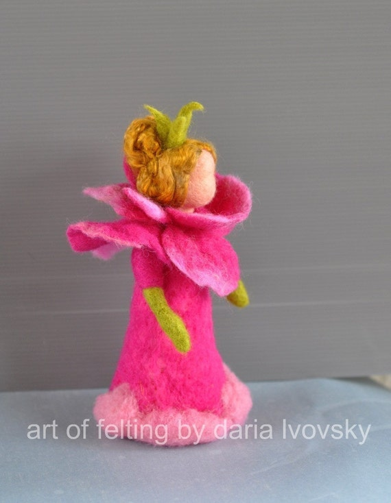 Needle felted Waldorf Rose-girl- soft sculpture -needle felt by Daria Lvovsky--Made to custom order