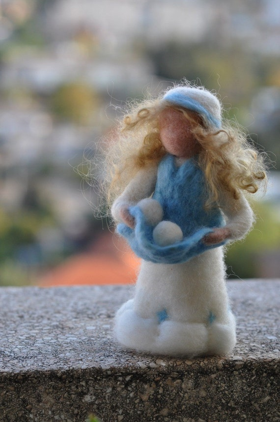 Needle felted Waldorf Doll.  Lady Winter Standing doll. Soft sculpture. Made for custom orders