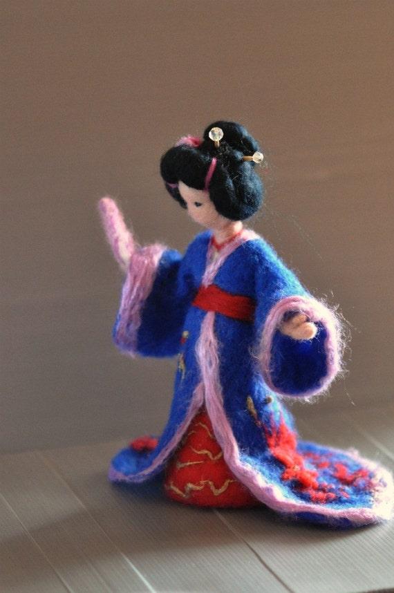 Needle Felted Waldorf  Doll Geisha. Made to order
