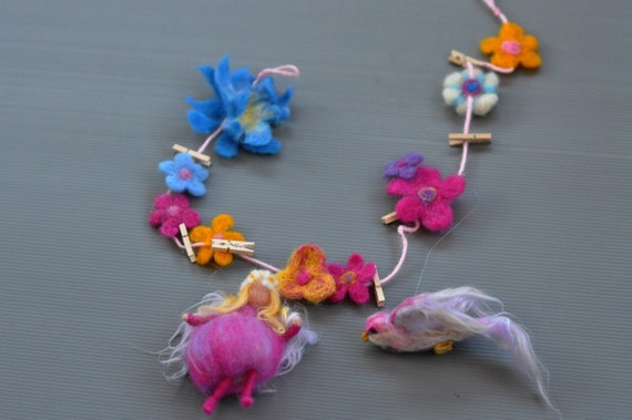Needle felted Waldorf  decorative string with the little Pink Fairy and a cute bird.-needle felt by Daria Lvovsky