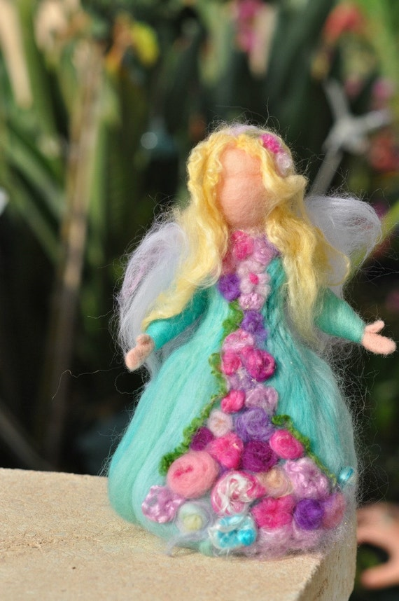 Needle felted Waldorf  Wool  Garden Fairy-soft sculpture- standing doll--needle felt by Daria LvovskyMade to custom orders