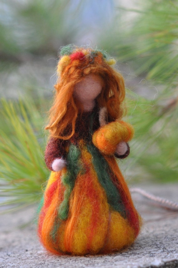 Needle Felted Waldorf  Wool Fairy-Autumn-Waldorf inspired standing doll-soft sculpture -needle felt by Daria Lvovsky REserved for  Beth