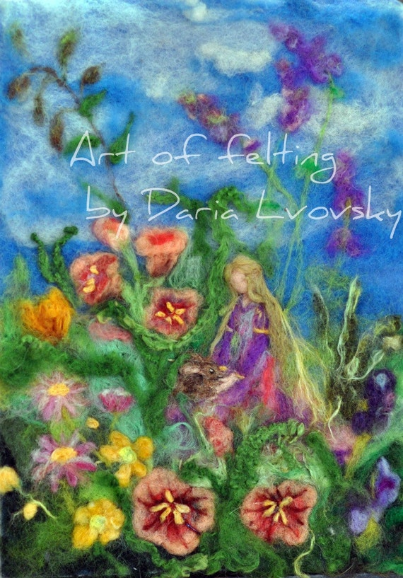 Flowers Fairy /Photo Print  of my original wool Needle felted  painting/Waldorf education arts/needle felt by Daria Lvovsky