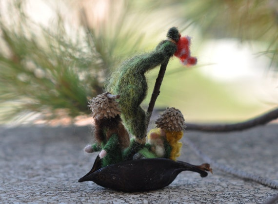 Needle Felted Waldorf forest creatures in the boat-Soft Sculpture-RESERVED for Tor