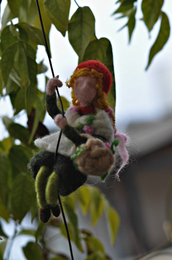 Needle felted Waldorf Wool Mobile-Climbing Girl-Gnome-Soft sculpture needle felt by Daria Lvovsky