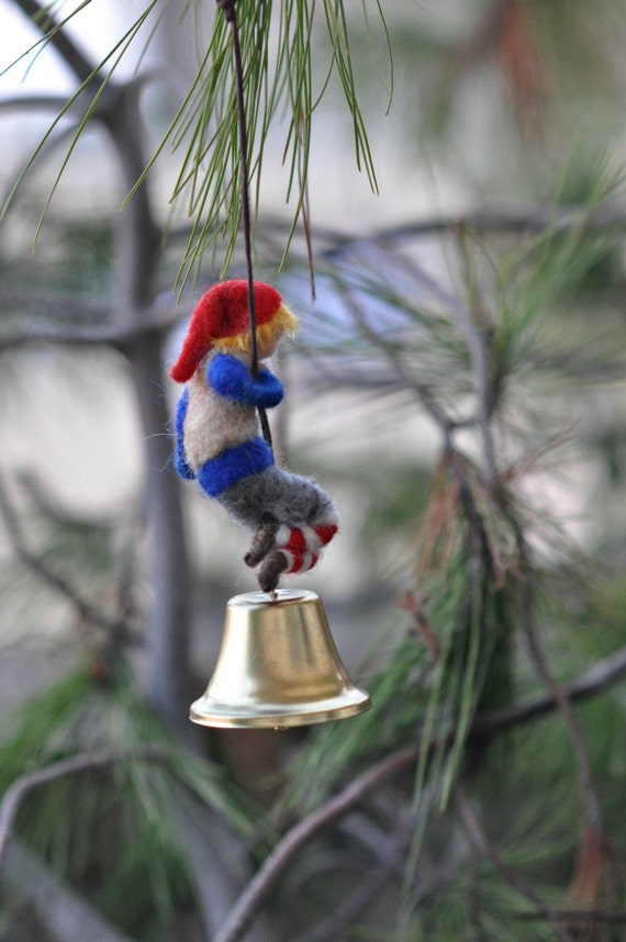 Needle Felted Waldorf Climbing Gnome/Wool Mobile/ Christmas ornament / Soft sculpture