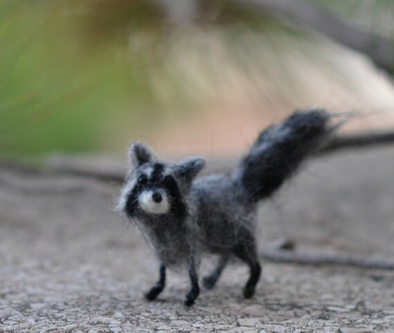 Needle Felted  Animals- 1/12 needlefelted raccoon--needle felt by Daria Lvovsky