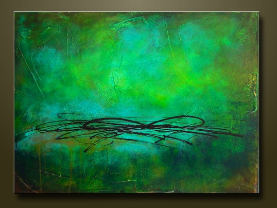On Sale -Rainforest - 30 x 40 - Abstract Acrylic Painting on Canvas - Highly Textured - Contemporary Wall Art