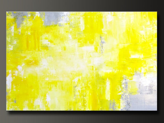 Abstract In Yellow 11 - 24 x 36 - Abstract Acrylic Painting - Contemporary Yellow Gray