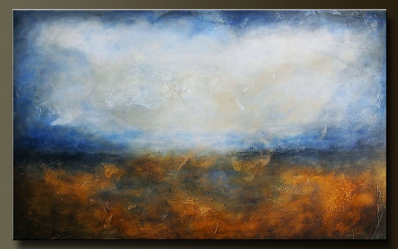 Horizon - 48 x 30 - Abstract Acrylic Painting - Highly Textured - Huge Contemporary Wall Art