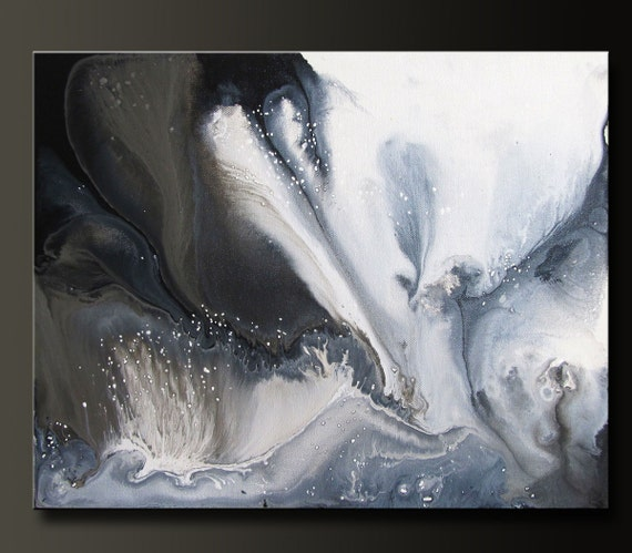 Soul - 20 x 16 - Abstract Acrylic Painting - Contemporary Wall Art - Black, Grey, White
