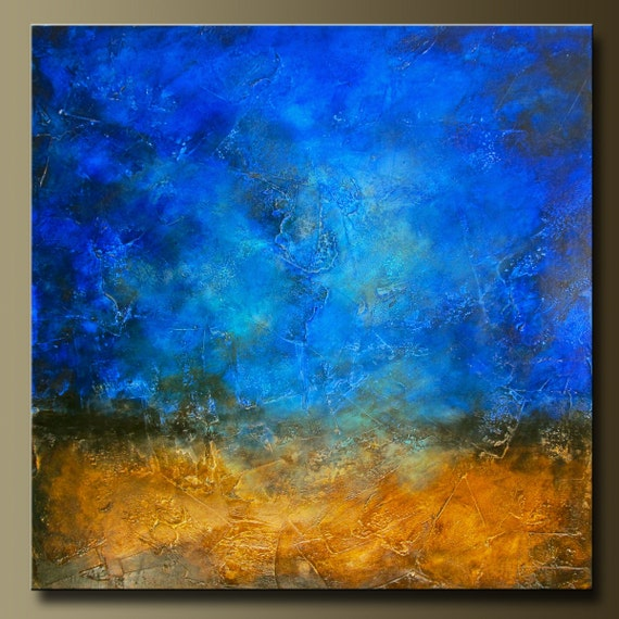 Sapphire and Sand 4 - Abstract Acrylic Painting - 36 x 36 - Huge Contemporary Wall Art